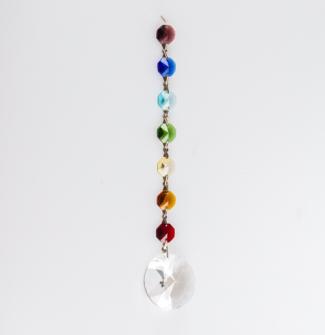 Kristall Chakrakette 18cm m. Blütendiamant