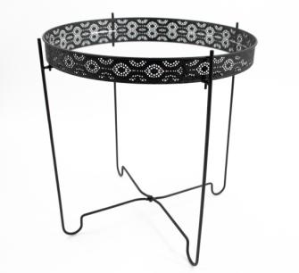 Tisch Metall schwarz mit Ornamenten eingelassene Spiegelplatte 40x42,5cm
