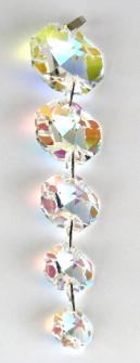 Kristallglas 5er Kette 14-30mm Kleeblattschliff farbig