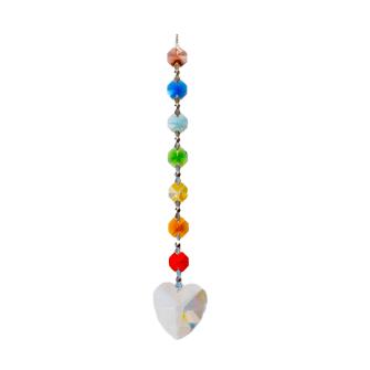 Kristall Chakrakette 18cm m. Herzdiamant
