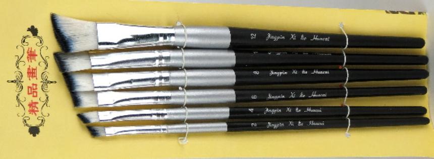 Pinsel 6erSet flach abgeschrägt Grössen 2, 4, 6, 8, 10, 12, Stiel schwarz