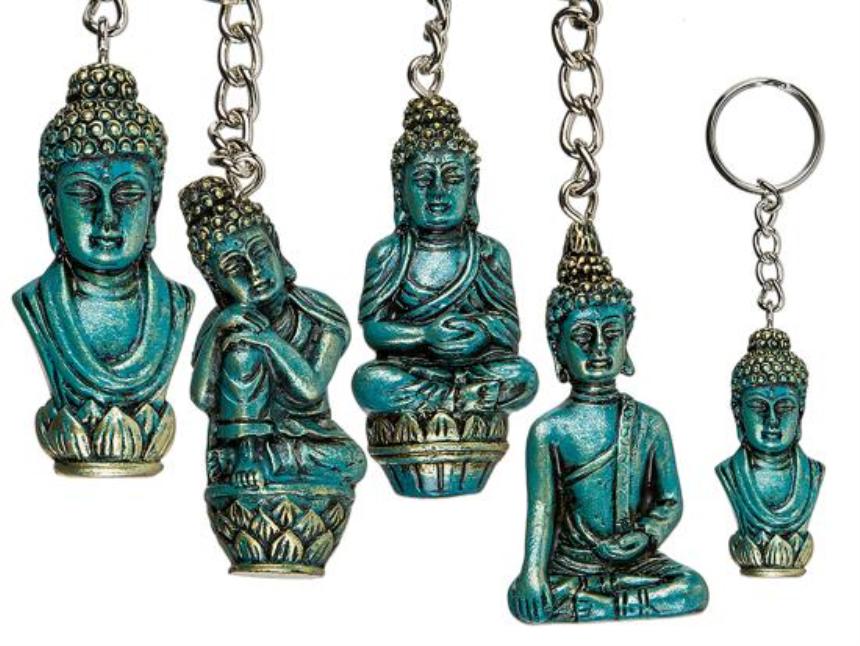 Schlüsselanhänger Thai Buddha Metall 6.5cm 4ass 72 Stk im Display