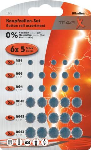 Batterie Knopfzelle 30 stk. 6ass auf Blisterkarte