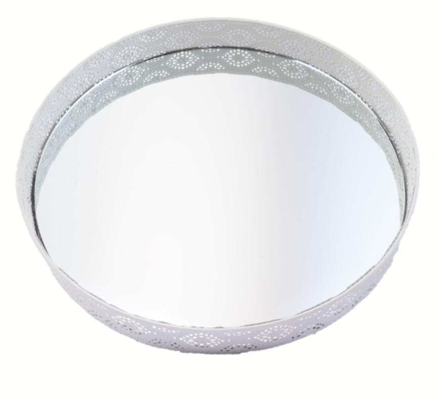 Tablett mit Ornamenten auf Füssen weiss Metall eingelassene Spiegelplatte 29x5cm