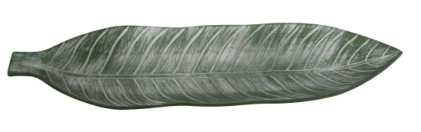 Tablett Blattform grün 53x15.5x4.5cm Holz
