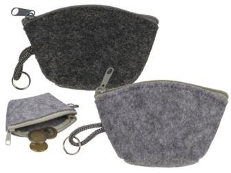 Geldbörse mit Reisverschluss und Metall-Schlüsselring 2ass 10.5x6.5cm Filz