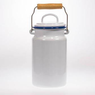 Emaille Weiss Milchkanne 2 Liter