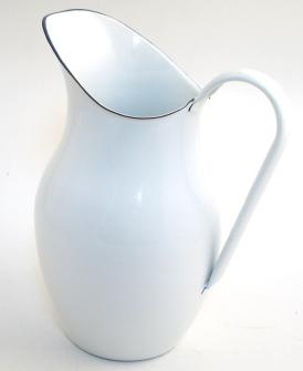Emaille Weiss Wasserkanne H 26cm 2,5 Liter