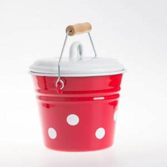 Emaille Rot mit weissen Tupfen Eimer mit Deckel klein D 16cm H 19cm