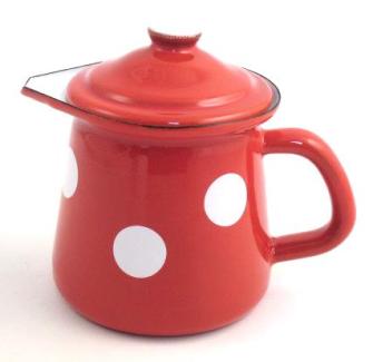 Emaille Rot mit weissen Tupfen Kännchen mit Deckel 0,4 Liter