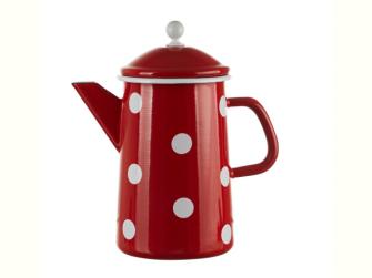 Emaille Rot mit weissen Tupfen Kaffeekanne mit Deckel 1,6 Liter