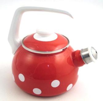 Emaille Rot mit weissen Tupfen Wasserkessel mit Pfeife 2 Liter