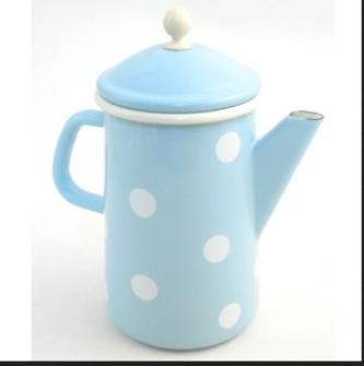 Emaille Hellblau mit weissen Kaffeekanne konisch mit Deckel 1.6 Liter