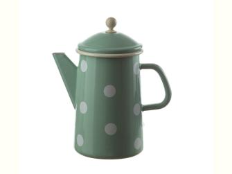 Emaille Mint mit weissen Tupfen Kaffeekanne konisch mit Deckel 1.6 Liter