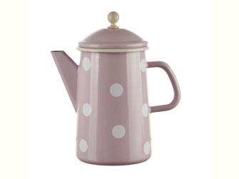 Emaille Rosa mit weissen Tupfen Kaffeekanne konisch mit Deckel 1.6 Liter