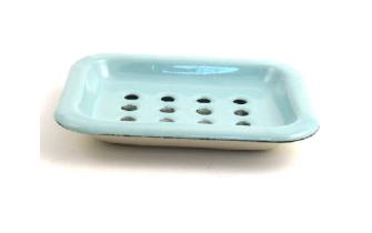 Emaille Seifenschale zum Stellen 2-teilig, Mint