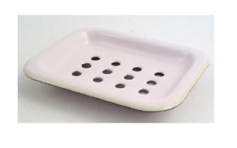 Emaille Seifenschale zum Stellen 2-teilig, Rosè