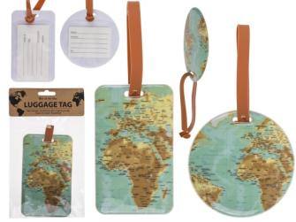 Koffer-Anhänger Weltkarte 9.5 und 7x11.4cm, 2ass Kunststoff