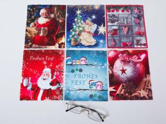 Brillenputztuch Weihnachten 17.5x15cm 6ass