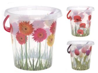 Eimer 12 Liter, Gras-Blumen-Design, 3ass
