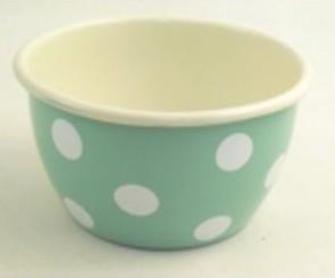 Emaille Mint mit weissen Tupfen Salatschüssel 14cm
