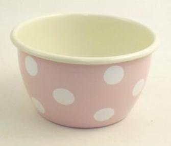 Emaille Rosa mit weissen Tupfen Salatschüssel 14cm