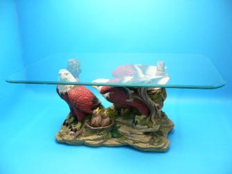 Glastisch mit Adlerfigur, Glasplatte 100x60cm, Figur 67x36x 41 cm h