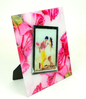 Fotorahmen 22*27cm Glas Rosenrand für 10x15cm Foto