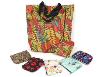 Einkaufstasche mit Reissverschluss-Etui 40*34*9cm 6 ass