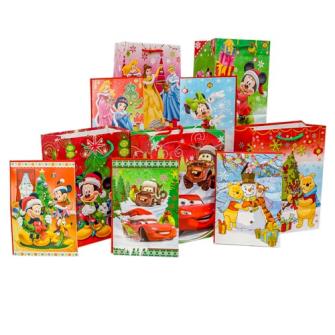 Geschenkstasche Weinachten Disney mit Grusskarte 3 Stk 5ass 19.5x31cm