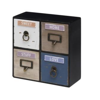 Kleinmöbel mit 4 Schubladen 25x10x25cm, MDF-Platte
