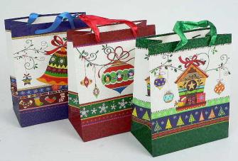 Geschenktasche Weihnachten mit Haus18*20*20cm 3ass.