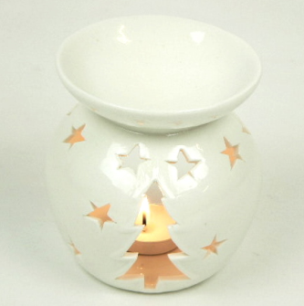 Duftlampe Tanne und Sterne weiss 10*10*11cm