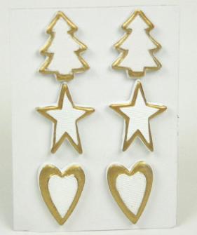 Deko Weihnachts Sticker 6er Holz bemalt Baum, Sterne Herz 11*9*11cm