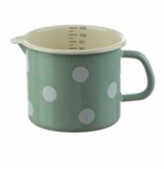 Emaille Mint mit weissen Tupfen Milchtopf mit Innenskala D 12cm H 11cm  1 Liter