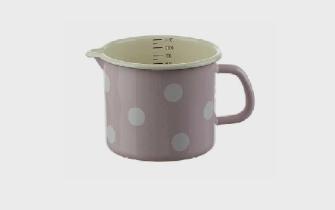 Emaille Rosa mit weissen Tupfen Milchtopf mit Innenskala D 12cm H 11cm  1 Liter