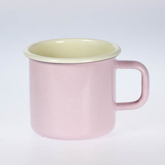 Emaille Rosa uni Becher 8cm