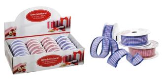 "Geschenkband ""Karo"" mit Drahtkante 2ass ca. 270 cm lang 2,5cm breit, im Display18x rot 6x blau, Poly"