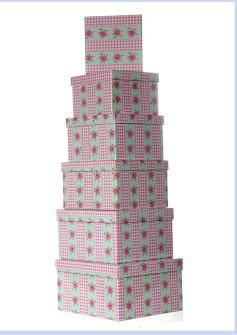 "Geschenkboxen 6erSet ""Romantik"" quadratisch 13,5x9,5 cm bis  21x12cm"