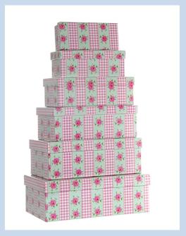 """Geschenkboxen 6erSet """"Romantik"""" rechteckig 16,5x6x7,5cm bis 28,5x10x20cm"""