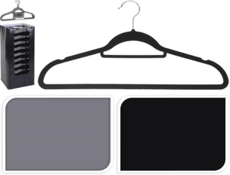 Kleiderbügel -Set 10 Stk mit Samtauflage schwarz grau 45x24x5cm 2ass im Display