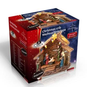 Weihnachtskrippe 3 LED im Karton 13x9x13.5cm