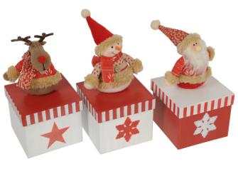 Geschenkbox m. Weihnachtsfigur rot 18cm 3ass