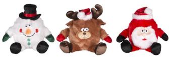 Weihnachtsfigur Plüsch sitzend 3ass 14cm PT