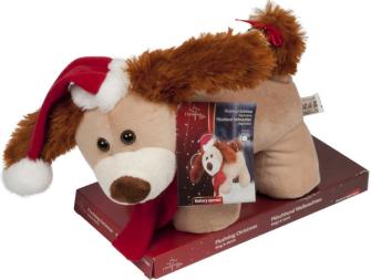 Weihnachtsfigur Plüschhund 35cm Batteriebetrieben