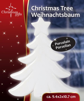 Weihnachtsbaum Porzellan weiss in Karton 10.5x2x9.5cm