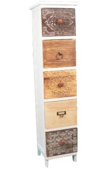 Möbel m. 5 Schubladen unterschiedlichen Holzarten 23.5x25x94cm