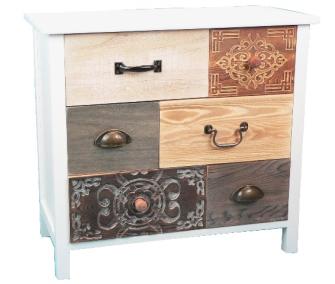 Möbel m. 6 Schubladen unterschiedlichen Holzarten 60x30x55cm