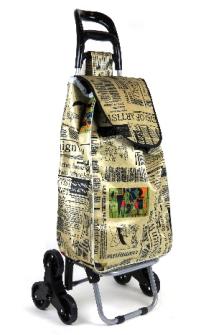 Einkaufswagen mit 3 Rädern für Treppe Zeitungsmuster h100cm, Tasche 60x35x22cm