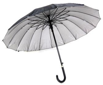 Regenschirm mit 16 Speichen, sehr robust, schwarz Durchmesser 110cm innen Silberfarben